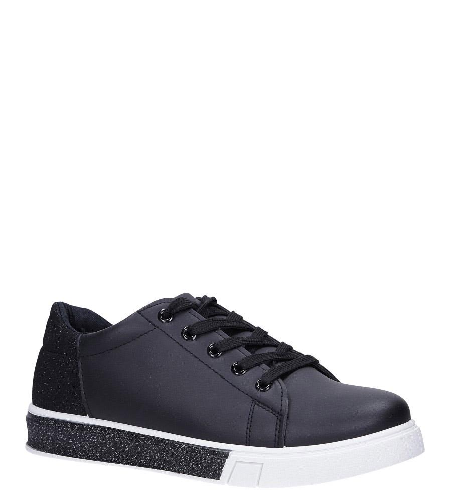 Czarne buty sportowe brokatowe sznurowane Casu 02004(D0611) czarny