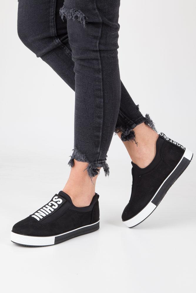 Czarne buty sportowe creepersy na platformie Casu SG-35