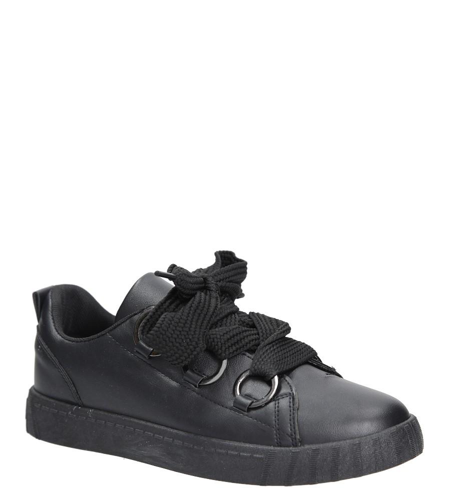 Czarne buty sportowe creepersy na platformie sznurowane Casu AB-67