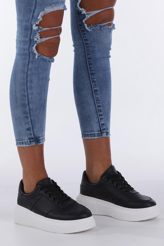 77c7fb7532f5a Czarne buty sportowe creepersy sznurowane Casu 02001(D0619) ...