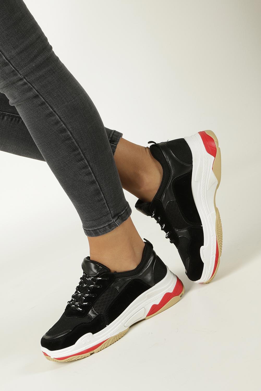 Czarne buty sportowe na koturnie Casu 7-K546A
