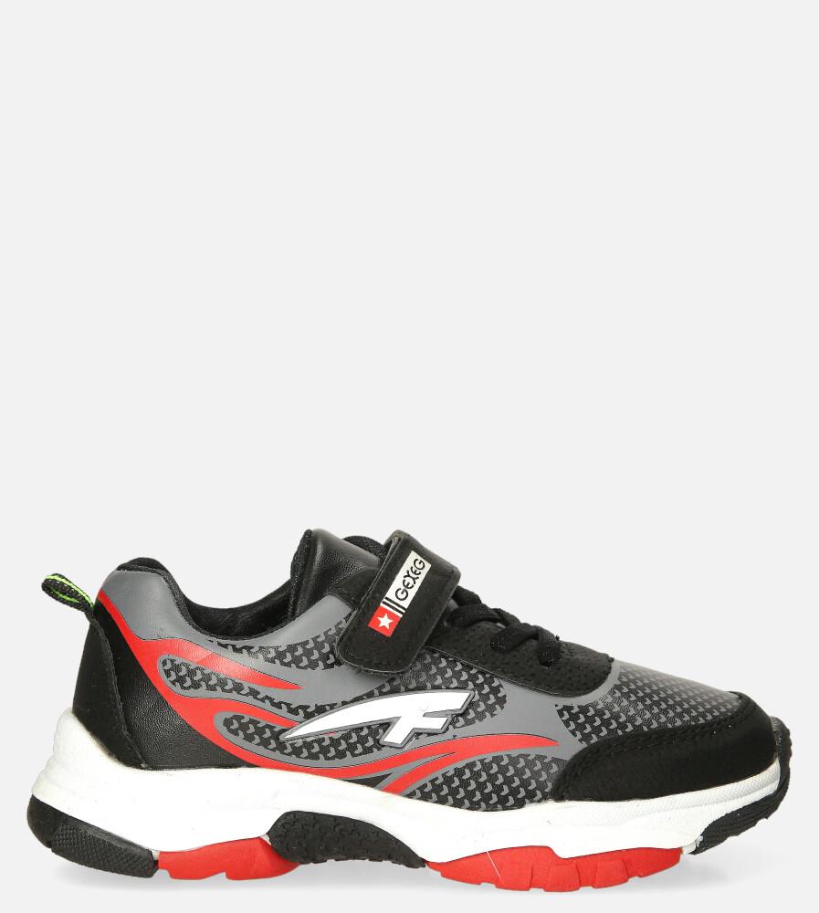Czarne buty sportowe na rzep Casu 204/10M czarny