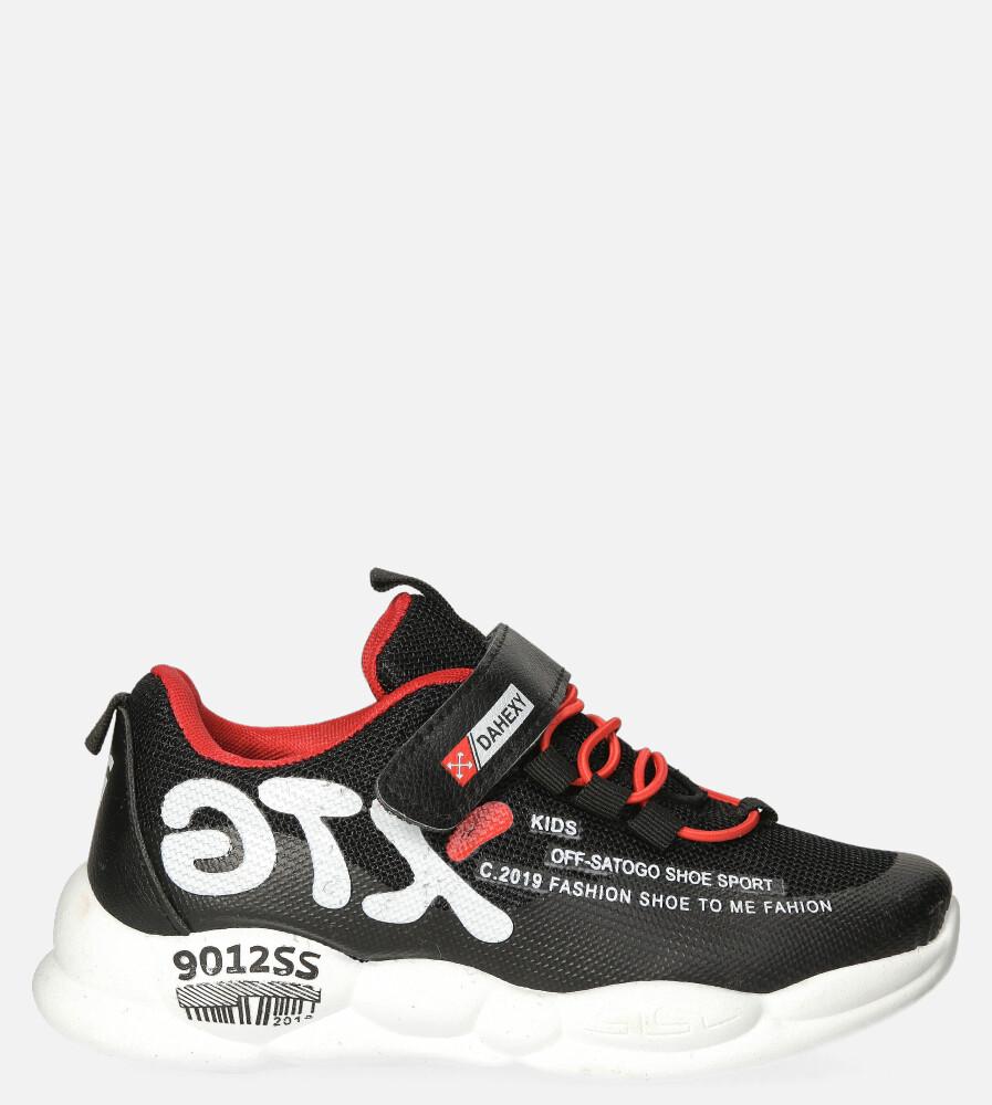 Czarne buty sportowe na rzep Casu 204/9M czarny