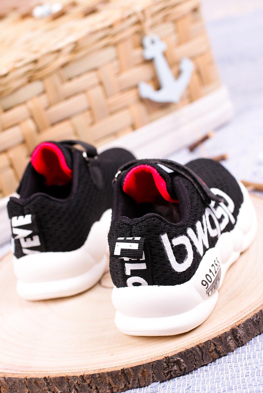 Czarne buty sportowe na rzep Casu 20P16/M
