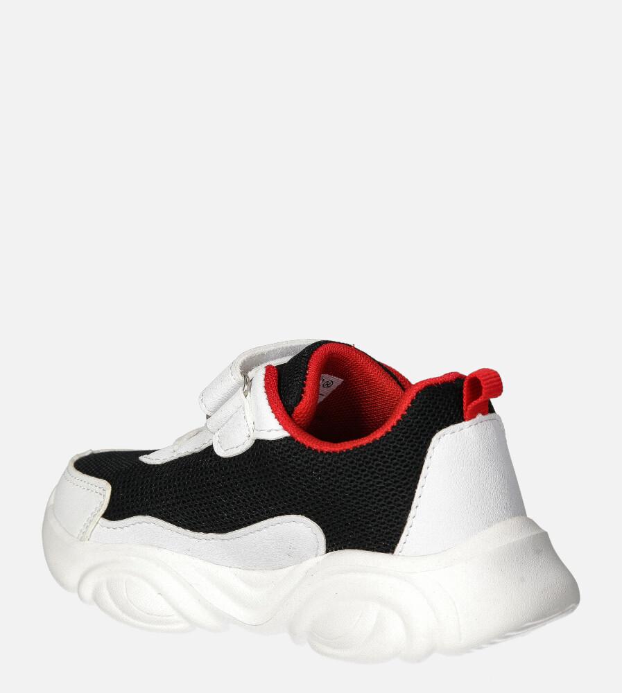 Czarne buty sportowe na rzep Casu 20T6/M  kolor czarny, czerwony