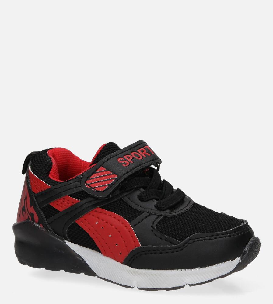 Czarne buty sportowe na rzep Casu 8828