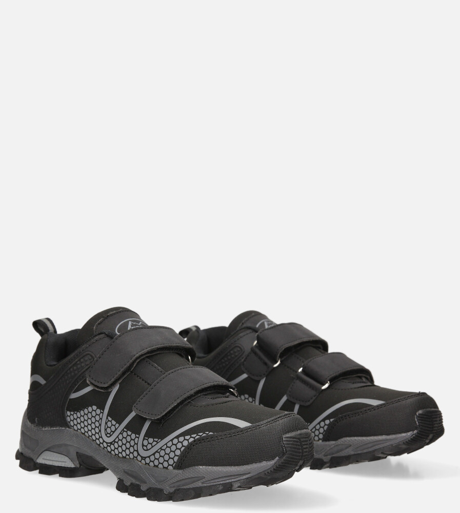 Czarne buty sportowe na rzepy softshell Casu B1529B-1 czarny