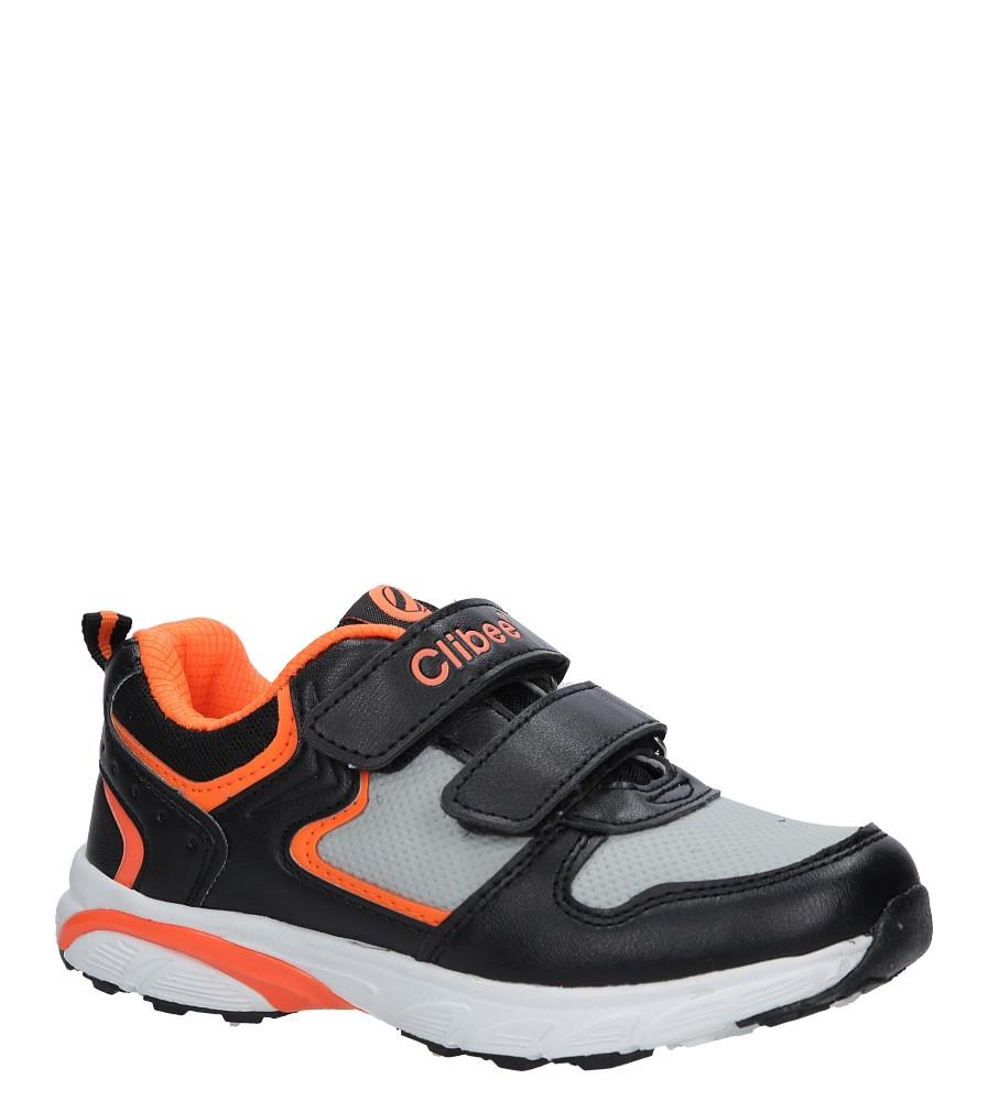Czarne buty sportowe na rzepy ze skórzaną wkładką Casu F-698