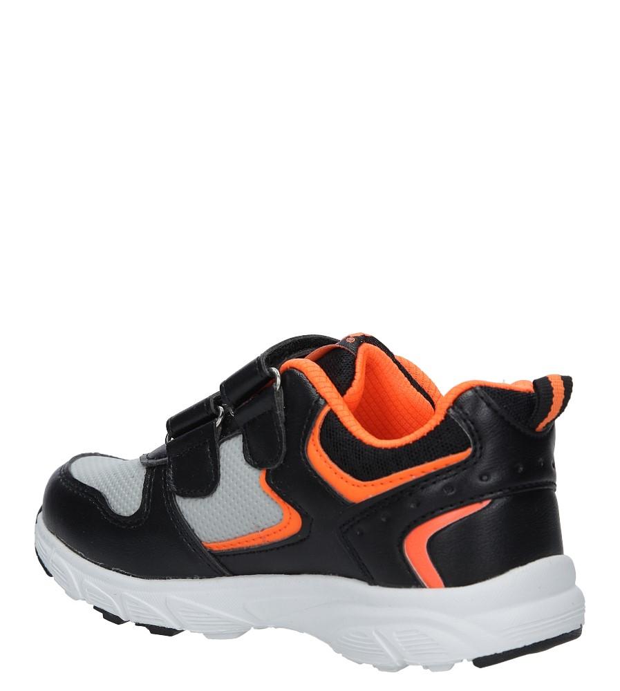Czarne buty sportowe na rzepy ze skórzaną wkładką Casu F-698 sezon Całoroczny