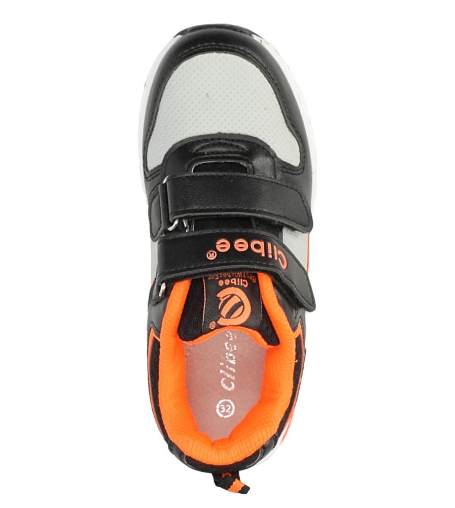 Czarne buty sportowe na rzepy ze skórzaną wkładką Casu F-698 kolor czarny