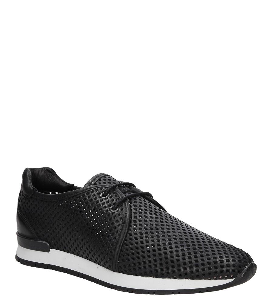 Czarne buty sportowe skórzane sznurowane Creator 9811A