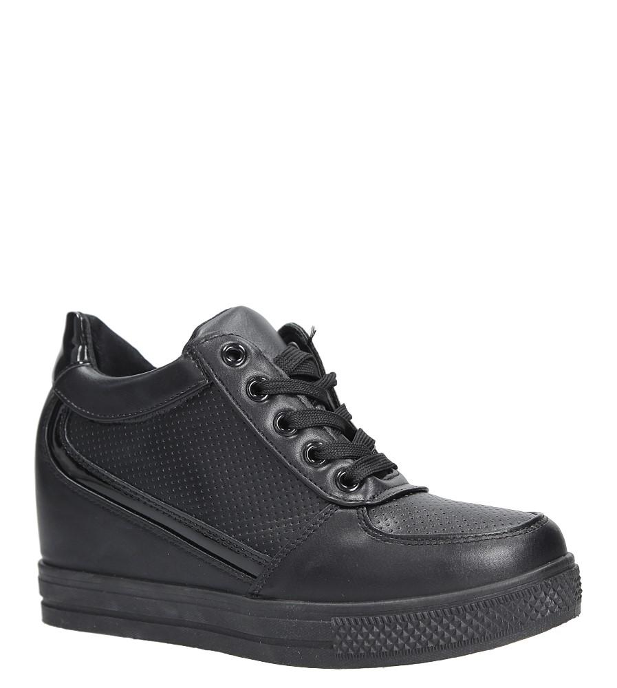 Czarne buty sportowe sneakersy na koturnie Casu MY560B