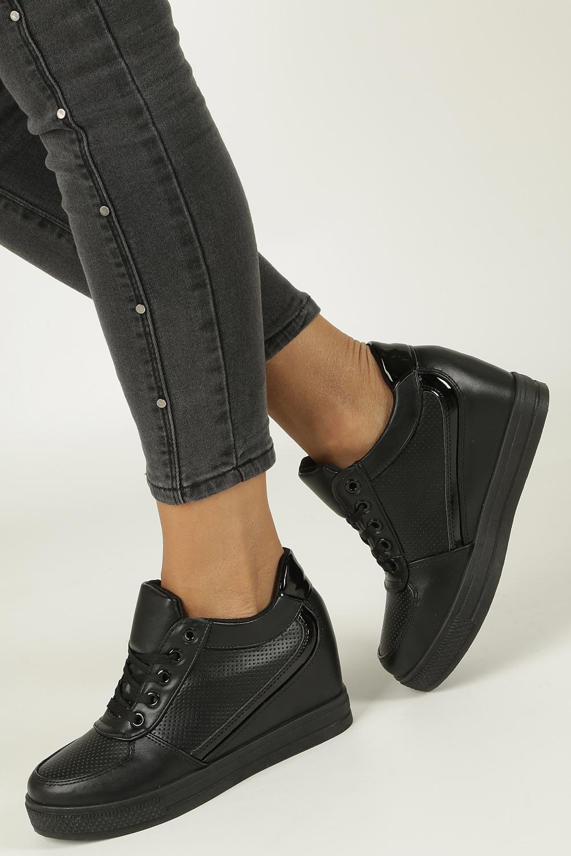 Czarne buty sportowe sneakersy na koturnie Casu MY560B model MY560B