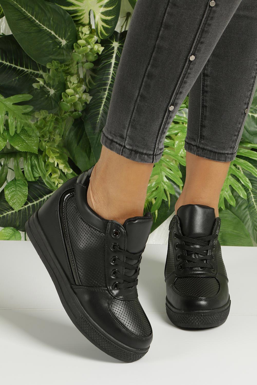 Czarne buty sportowe sneakersy na koturnie Casu MY560B sezon Całoroczny
