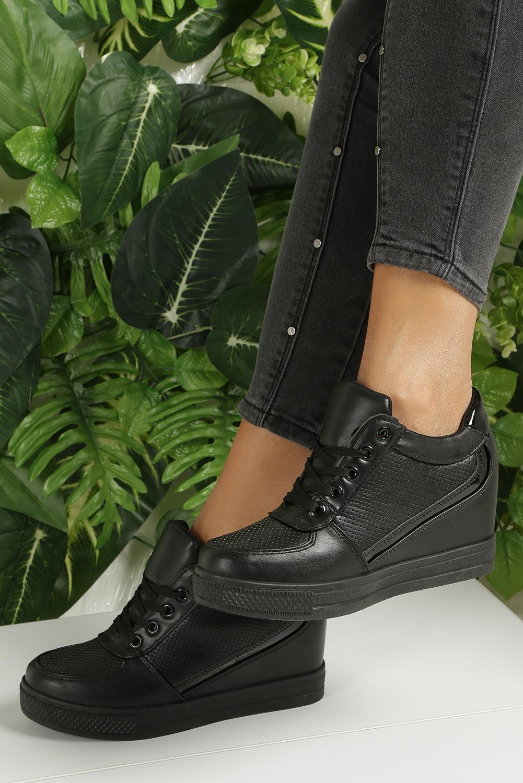 Czarne buty sportowe sneakersy na koturnie Casu MY560B kolor czarny