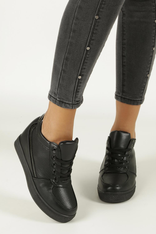 Czarne buty sportowe sneakersy na koturnie Casu MY560B wysokosc_obcasa 7 cm