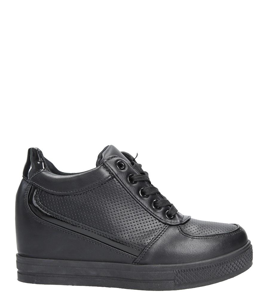 Czarne buty sportowe sneakersy na koturnie Casu MY560B wysokosc_platformy 2 cm