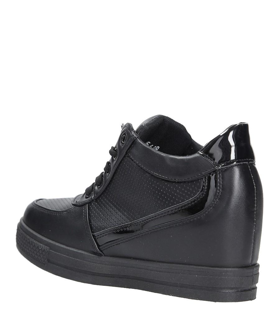 Czarne buty sportowe sneakersy na koturnie Casu MY560B wys_calkowita_buta 13.5 cm