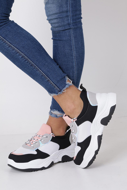 Czarne buty sportowe sneakersy na platformie sznurowane Casu 923
