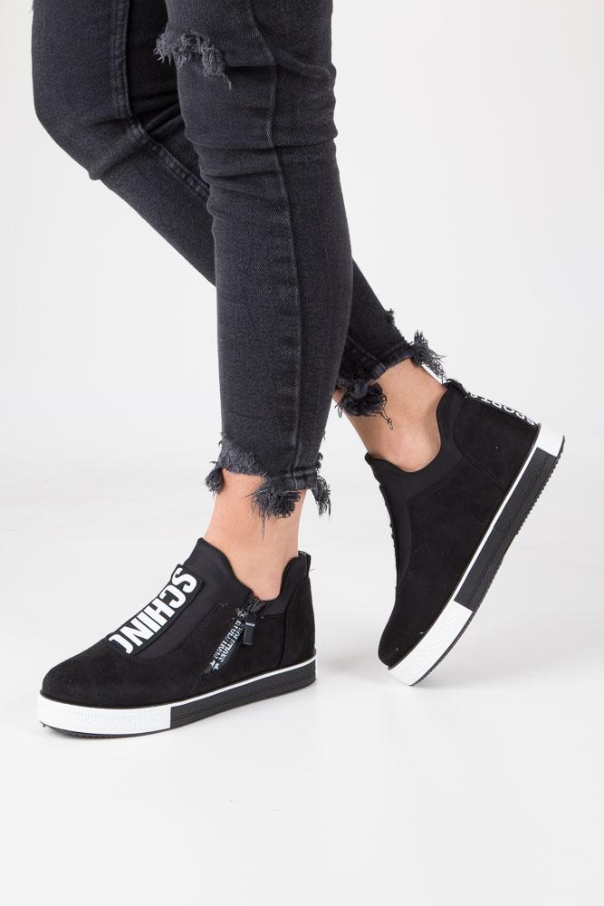 Czarne buty sportowe sneakersy na platformie z ozdobnym suwakiem Casu SG-61