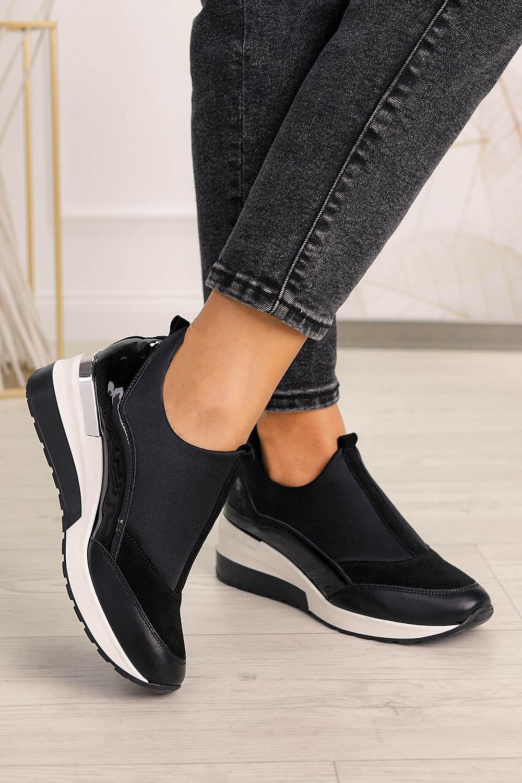 Czarne buty sportowe sneakersy polska skóra Pro-moda 2574/001/L czarny
