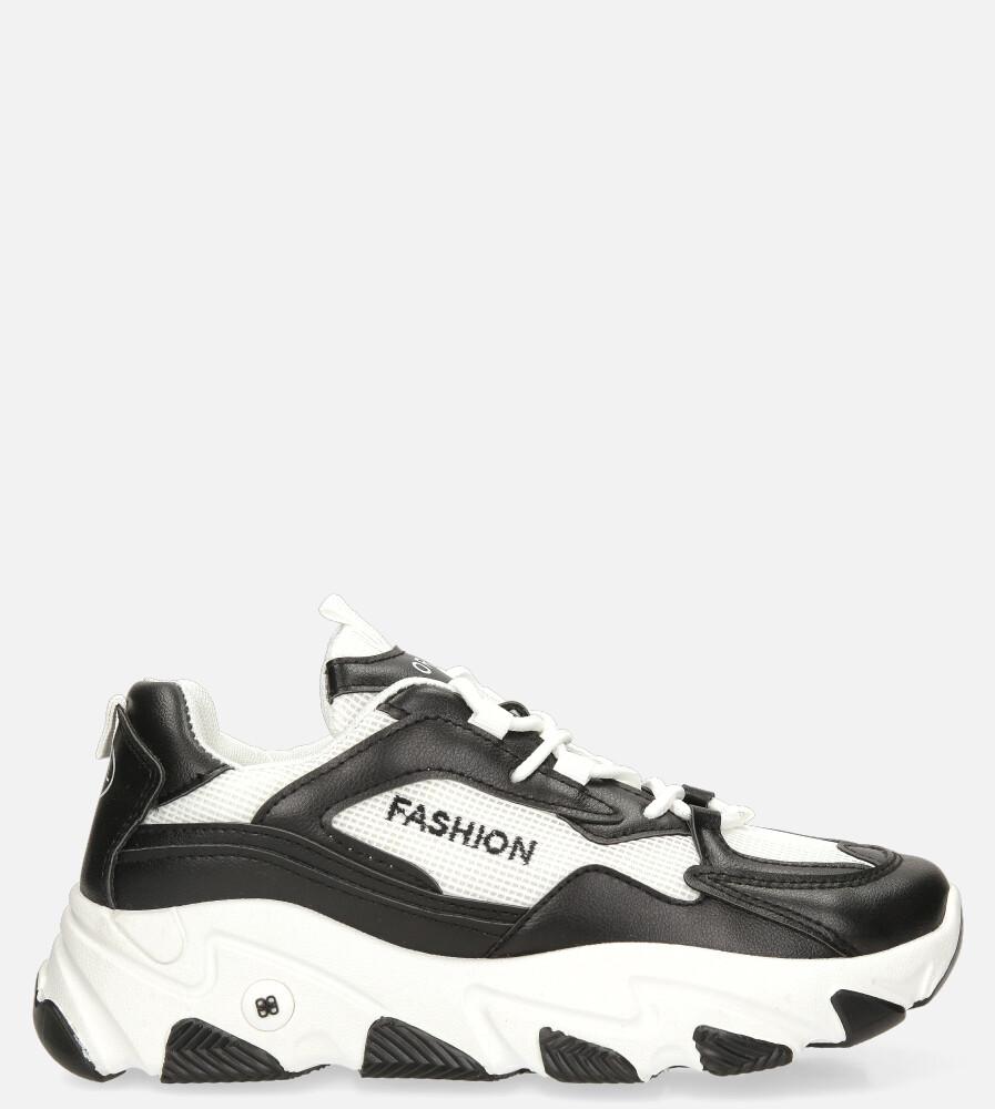 Czarne buty sportowe sneakersy sznurowane Casu 204/33B