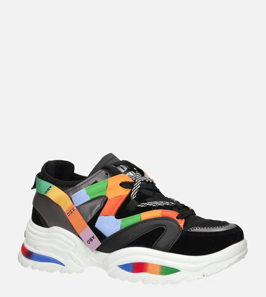 Czarne buty sportowe sneakersy sznurowane Casu 20G5/B czarny