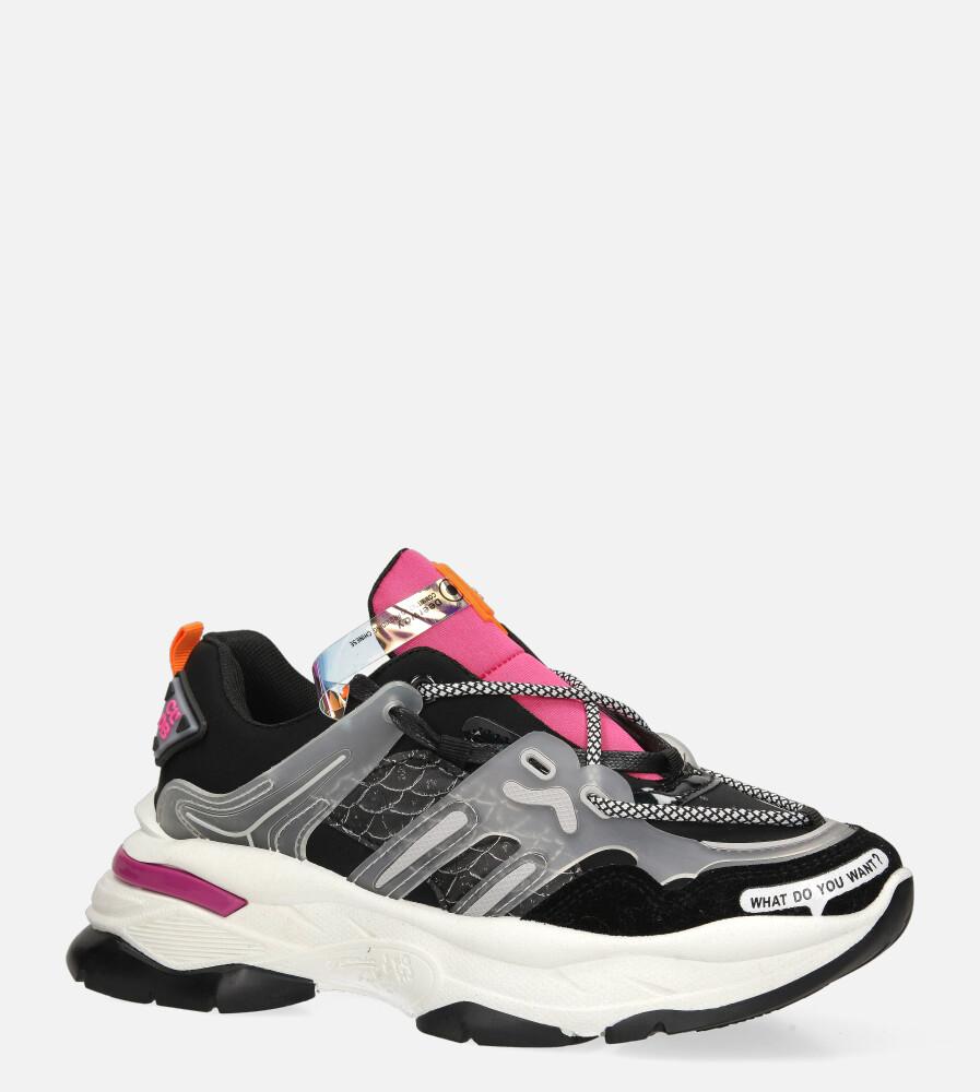 Czarne buty sportowe sneakersy sznurowane Casu 20G7/B  model 20G7/B