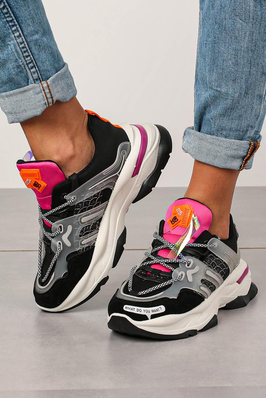 Czarne buty sportowe sneakersy sznurowane Casu 20G7/B  sezon Całoroczny