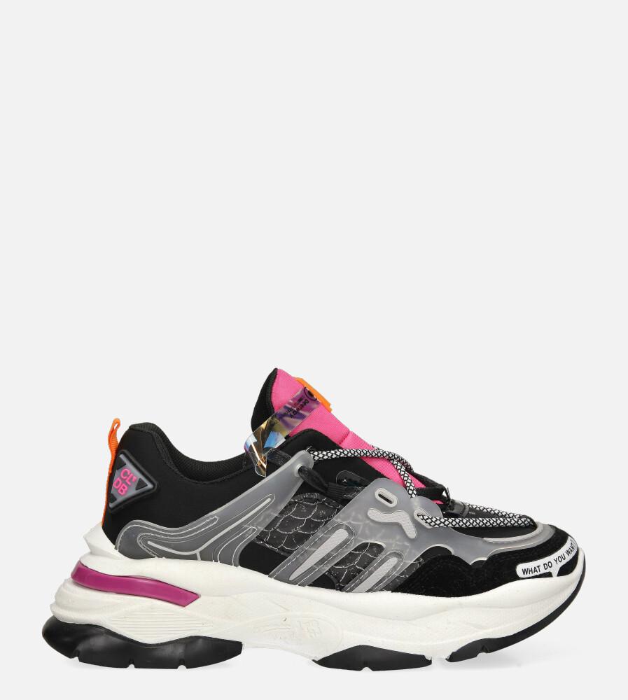 Czarne buty sportowe sneakersy sznurowane Casu 20G7/B  wysokosc_platformy 2.5 cm