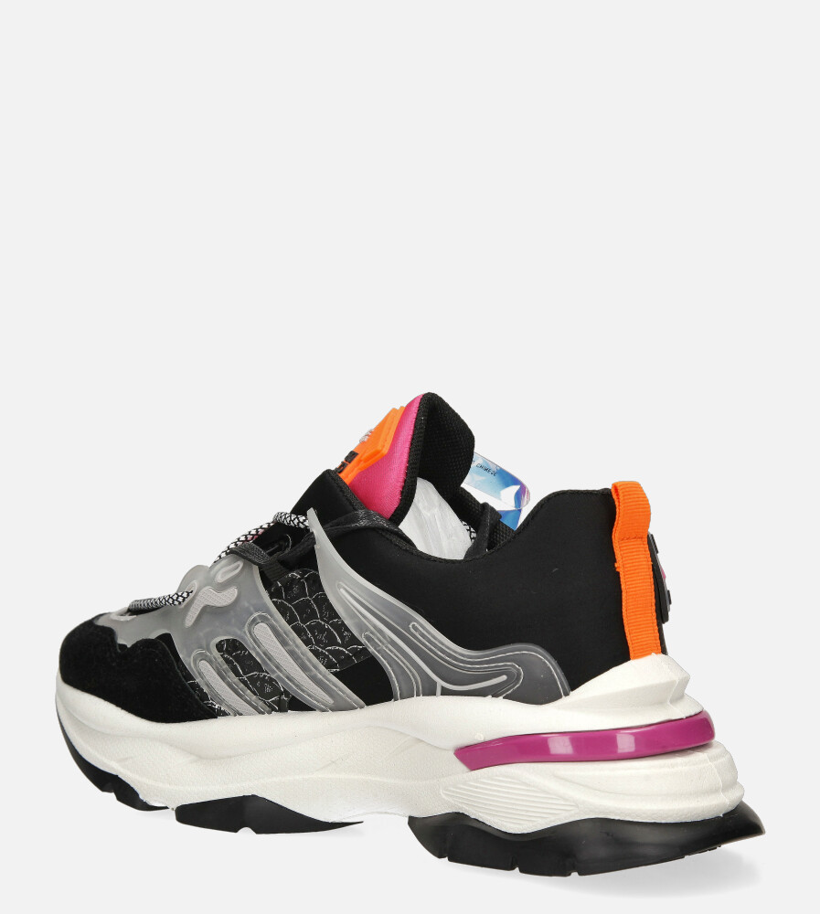 Czarne buty sportowe sneakersy sznurowane Casu 20G7/B  wys_calkowita_buta 12 cm