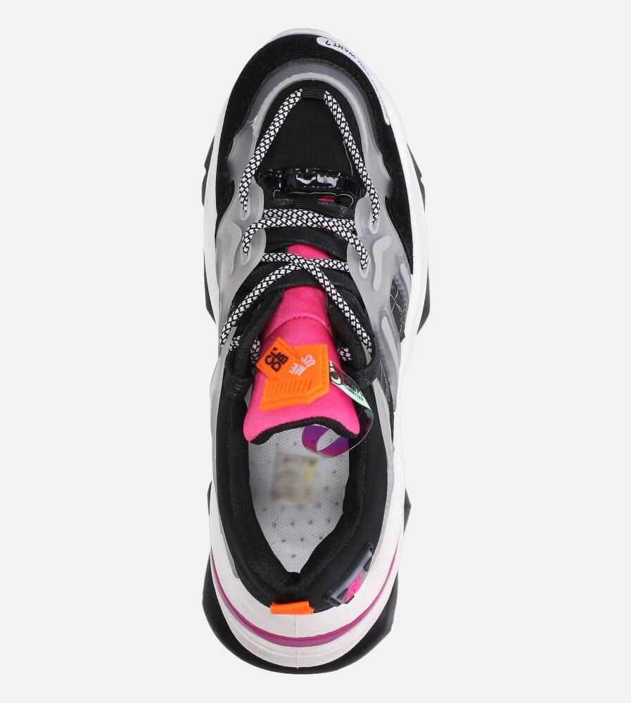 Czarne buty sportowe sneakersy sznurowane Casu 20G7/B  wierzch materiał/skóra ekologiczna