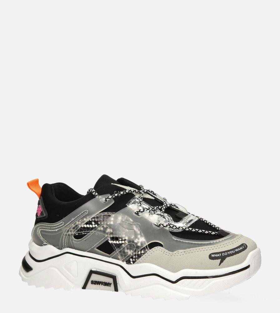 Czarne buty sportowe sneakersy sznurowane Casu 20H7/B czarny