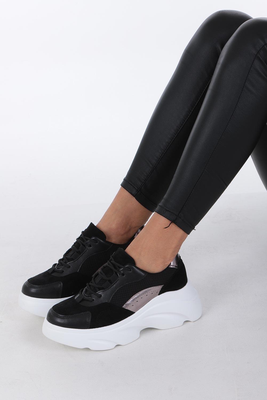 Czarne buty sportowe sneakersy sznurowane Casu czarny