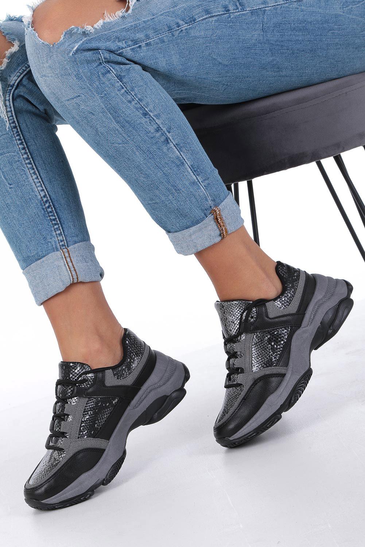 Czarne buty sportowe sneakersy sznurowane Casu DS13002 czarny