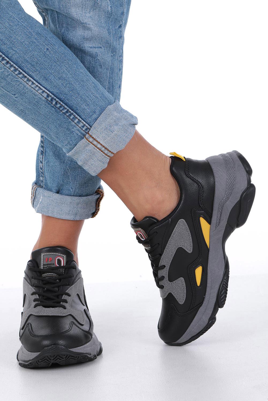Czarne buty sportowe sneakersy sznurowane Casu DS13003 czarny