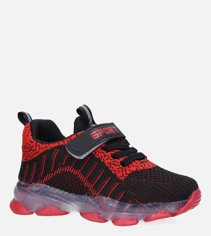 Czarne buty sportowe świecące led na rzep Casu 706 czarny