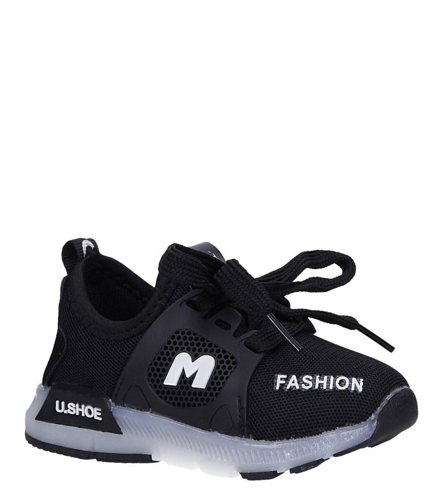 Czarne buty sportowe świecące led sznurowane Casu 332