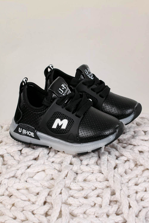 Czarne buty sportowe sznurowane Casu B331