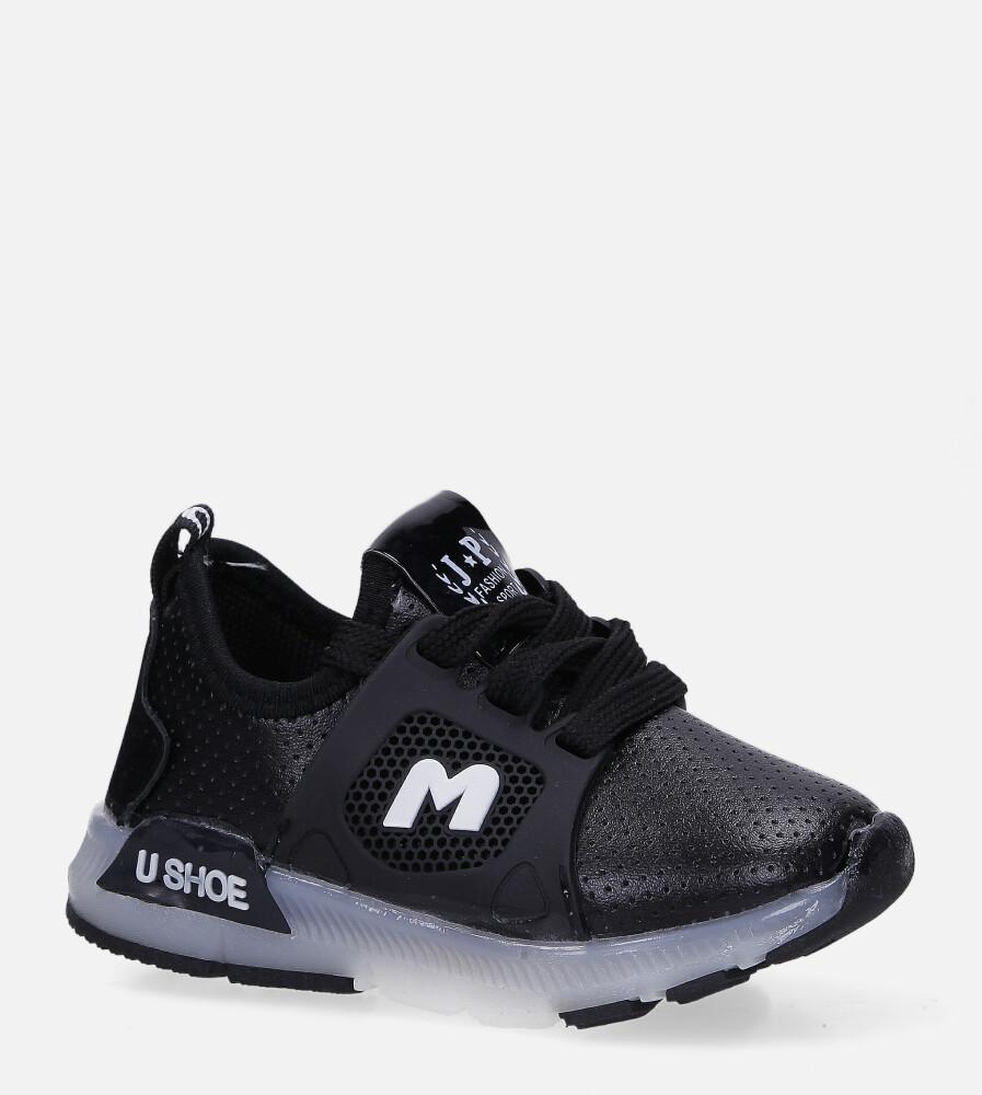 Czarne buty sportowe świecące led sznurowane Casu B331 czarny