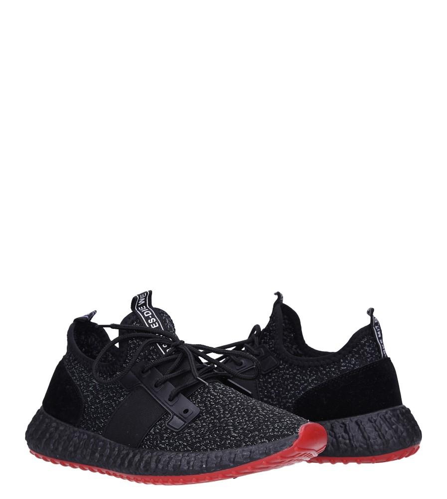 Czarne buty sportowe sznurowane Casu 169 wysokosc_platformy 1 cm