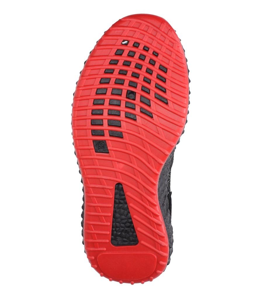 Czarne buty sportowe sznurowane Casu 169 wierzch materiał