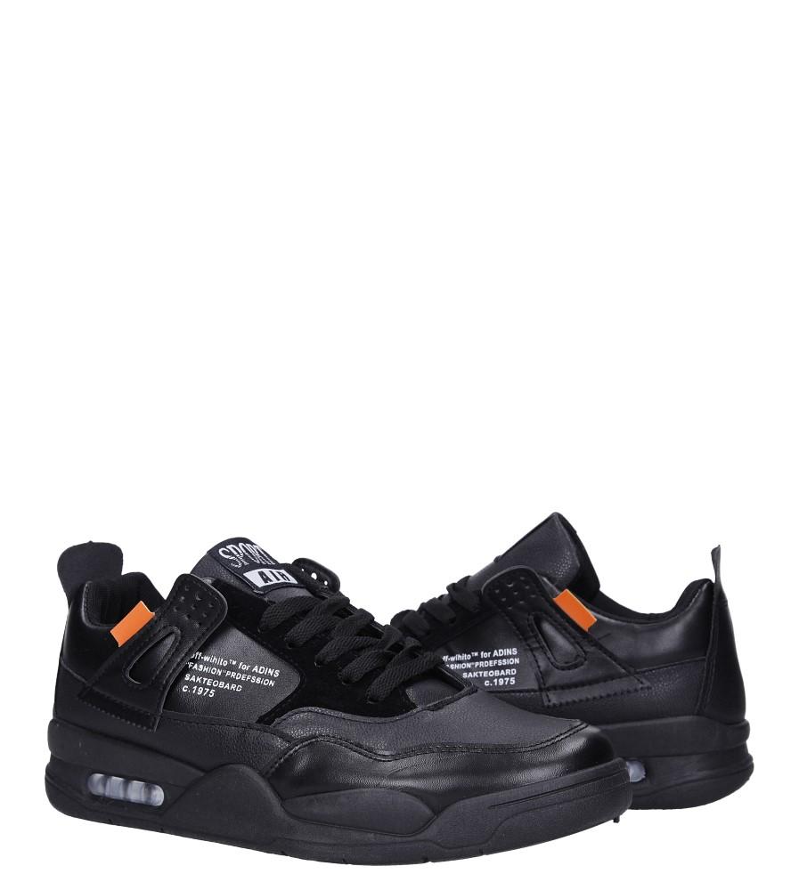 Czarne buty sportowe sznurowane Casu 191 wysokosc_platformy 2 cm