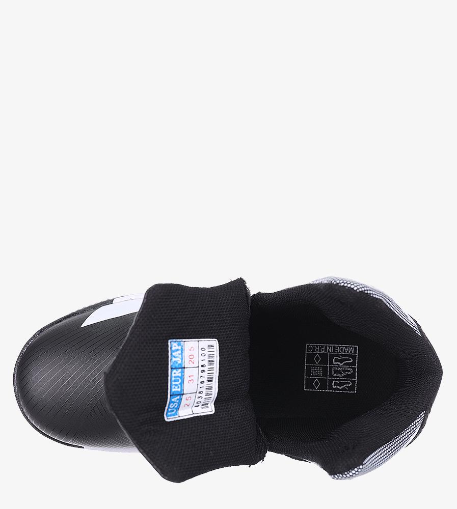 Czarne buty sportowe sznurowane Casu 201A/BW wnetrze materiał