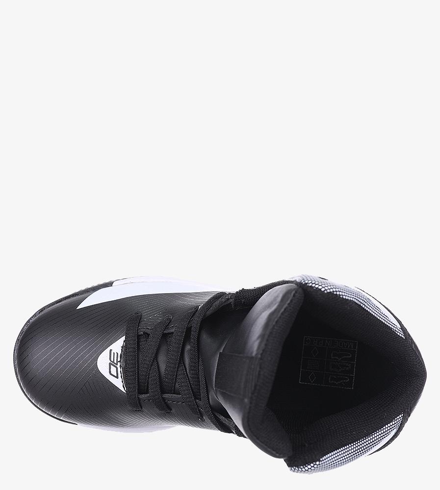 Czarne buty sportowe sznurowane Casu 201A/BW wkladka materiał