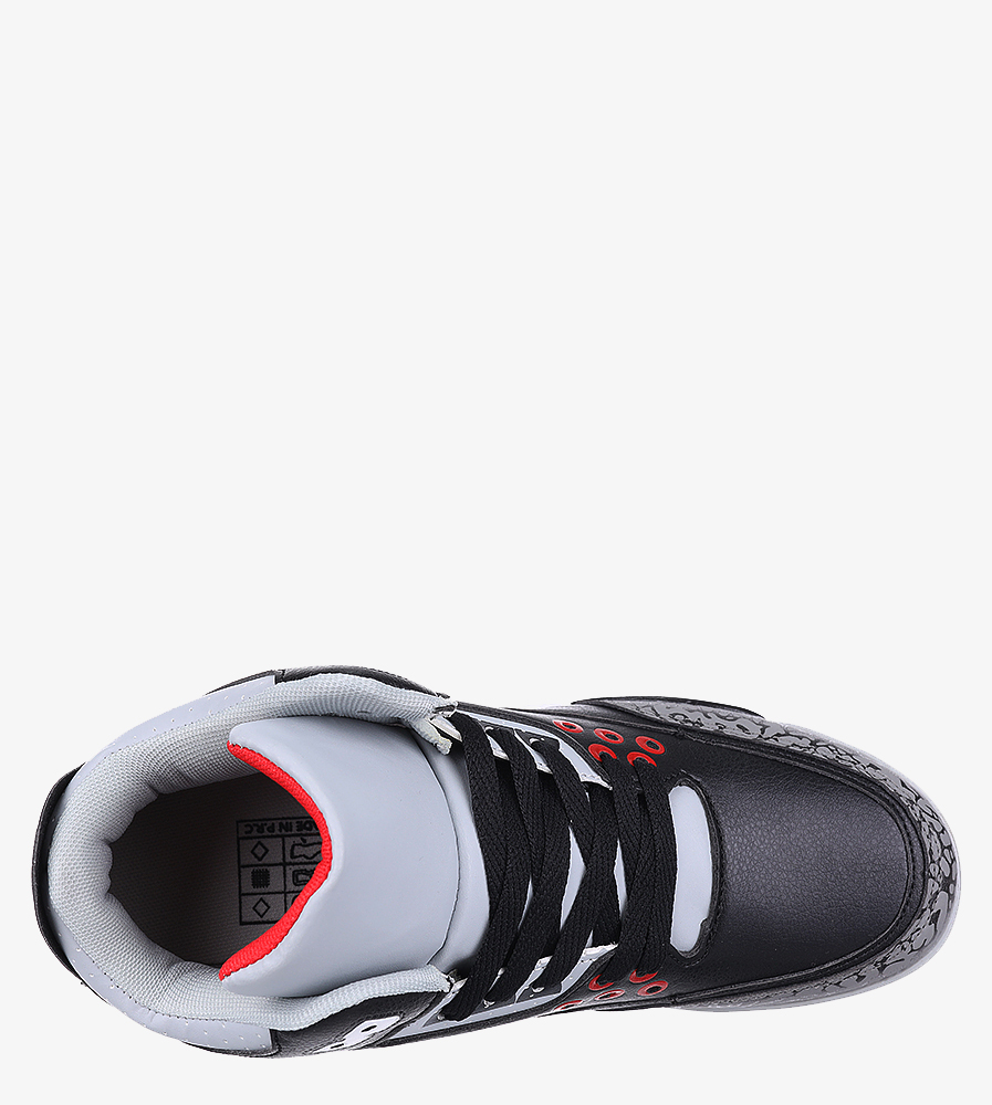 Czarne buty sportowe sznurowane Casu 201C/BG5 wnetrze materiał