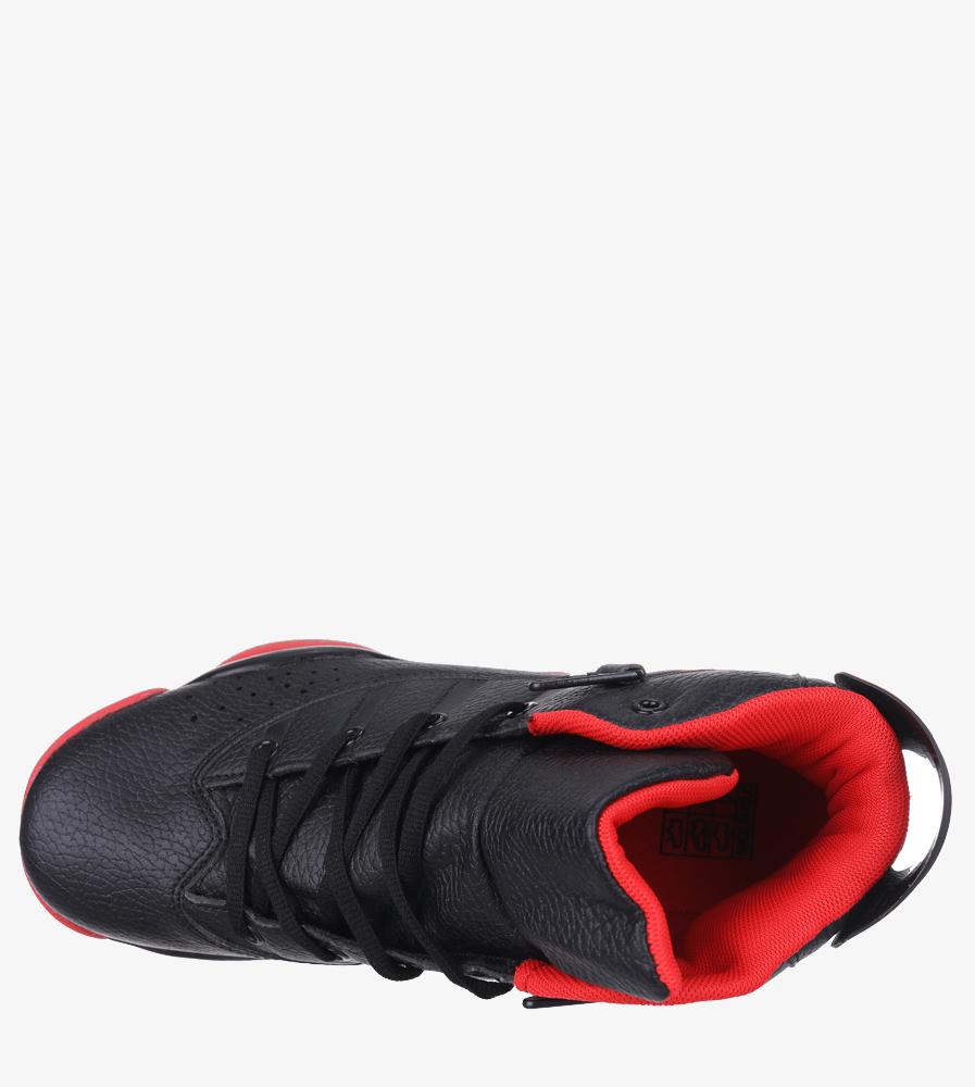 Czarne buty sportowe sznurowane Casu 201D/BR1 wierzch skóra ekologiczna