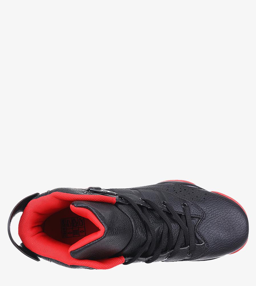 Czarne buty sportowe sznurowane Casu 201D/BR1 wnetrze materiał
