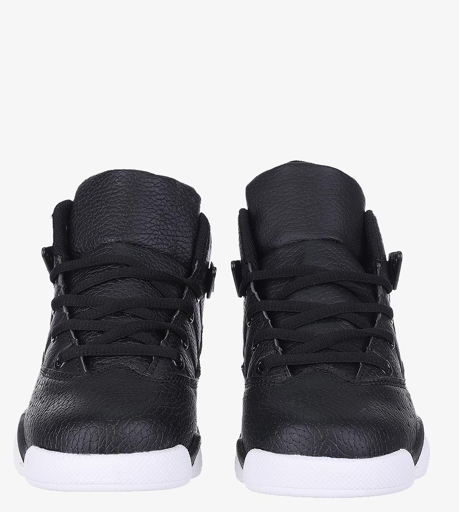 Czarne buty sportowe sznurowane Casu 201D/BW wierzch skóra ekologiczna