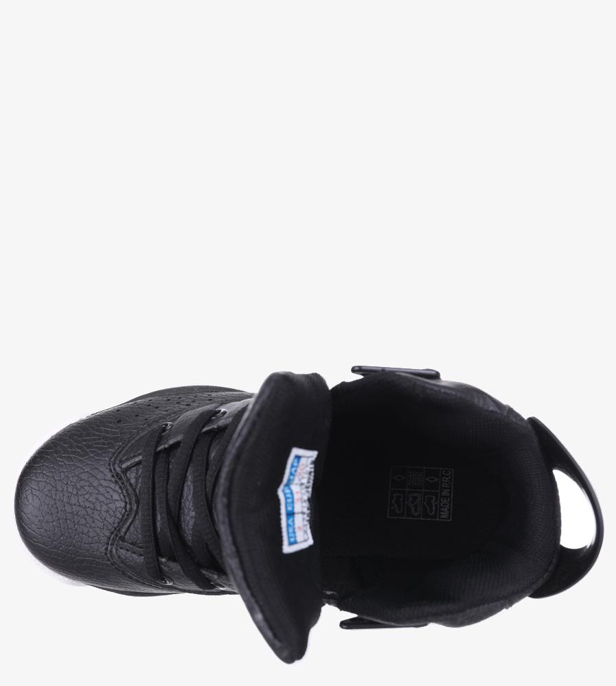 Czarne buty sportowe sznurowane Casu 201D/BW material_obcasa wysokogatunkowe tworzywo